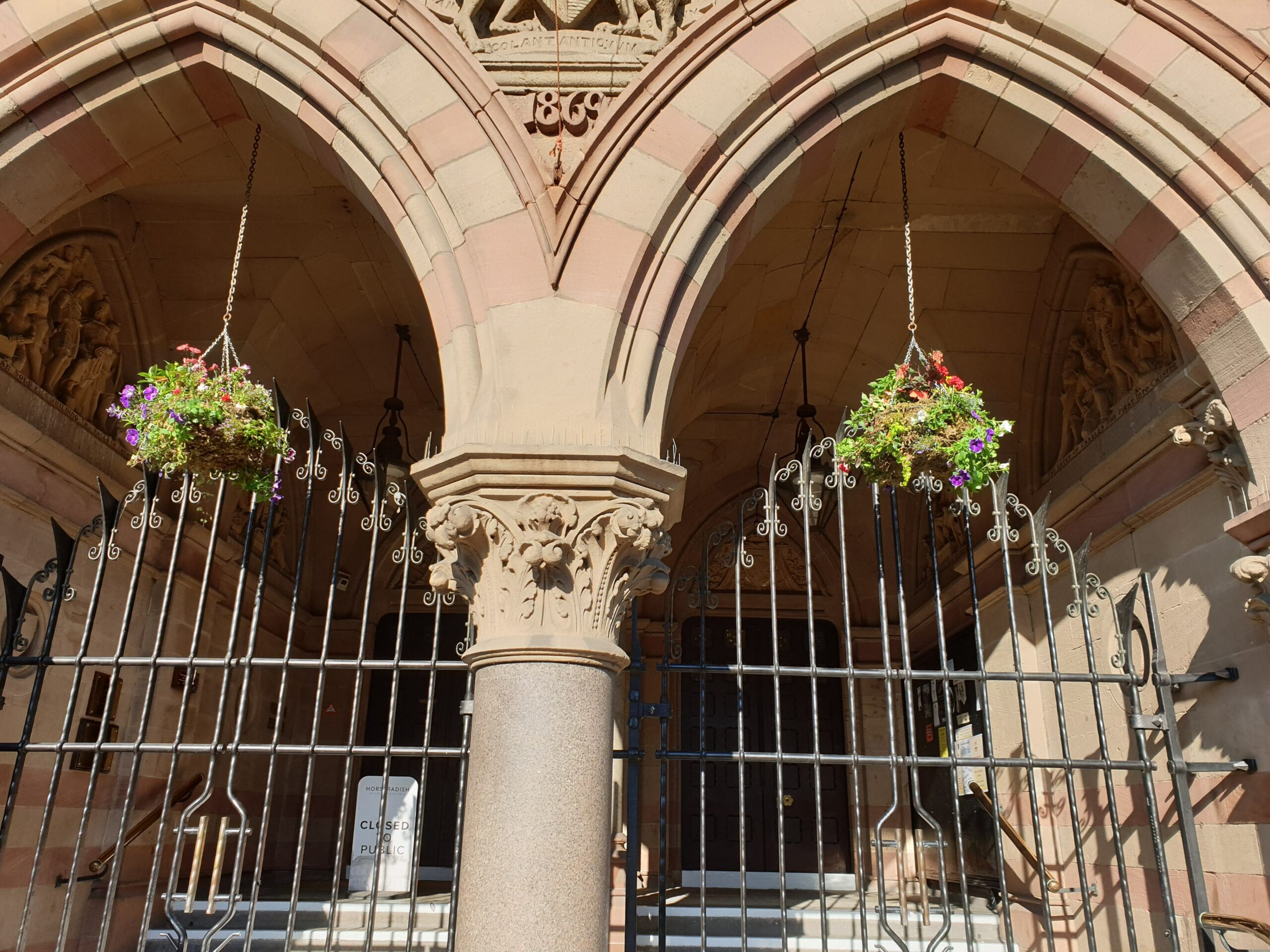 Hanging baskets in the entrance of town hall